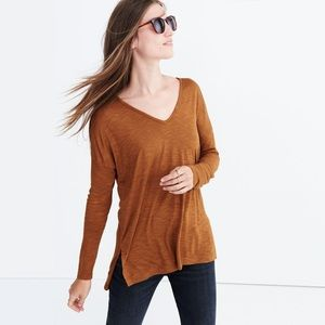 Madewell Anthem V Neck Long Sleeve Tee in Cedar